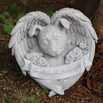 Sleeping Dog Cat Memorial Statue pet Grave Marker