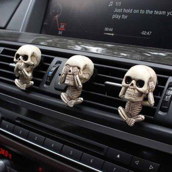 Skull Sculpture Evil Skeleton Set of 3 With Scent Tab