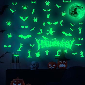 Halloween Decals Glow In The Dark Bat Ghost Wall Sticker