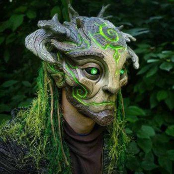 Elf Cosplay Masquerade Green Forest Elf Full Head Mask