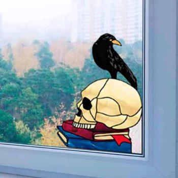 Window Hanging Iron Raven Halloween Skeleton Pattern