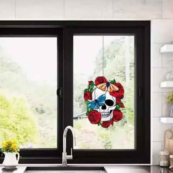 Skull And Rose Window Cling With Butterfly Metal Craft