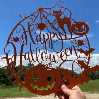 Halloween Door Hanger Spider Web Pumpkin Sign Decor