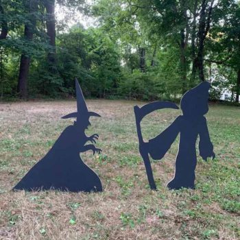 Halloween Silhouette Spooky Witch With Cats Yard Art