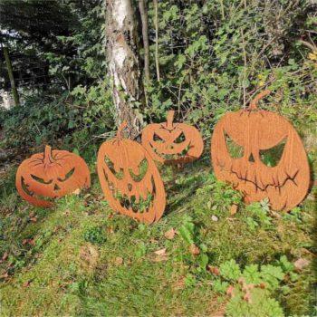 Happy Face Pumpkin Rusty Metal Garden Yard Sculpture