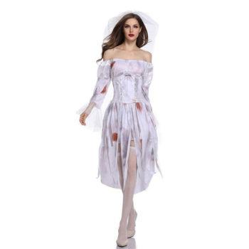Ghost Bride Costumes Halloween Goddess White Dress