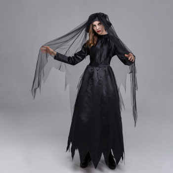 Witch Cloak Dark Ghost Bride Carnival Party Costume