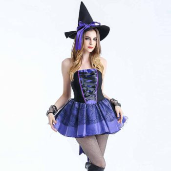 Sexy Witch Costumes Purple Dovetail Fancy Strapless Dress
