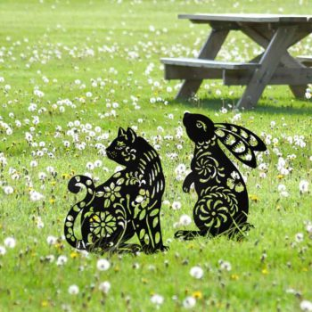 Cat Silhouette Rabbit Silhouette Metal Animal Garden Stakes