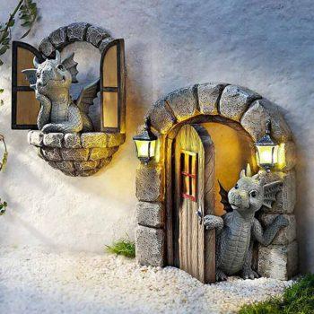 Dragon Garden Statues Resin Window Shape Wall Sculpture