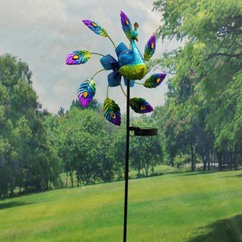 Peacock Wind Spinner Solar Light Yard Art Sculpture