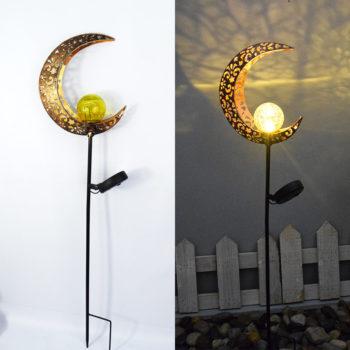 Solar Garden Lights Retro Sun Moon Flame Lawn Lamp