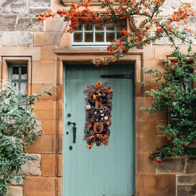 Halloween Door Wreath Boo Swag Front Door Wreath
