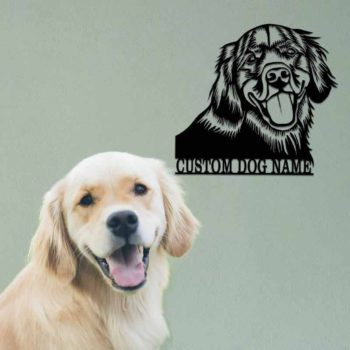 Custom Pet Portrait with Name Metal Dog Memorial Gift