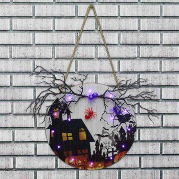 Halloween Door Sign Halloween Lighted Wooden Hanging
