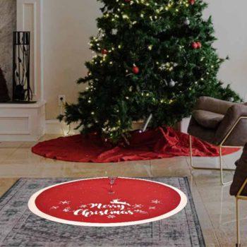 Christmas Tree Skirt Merry Christmas Plush Snowflake Mat