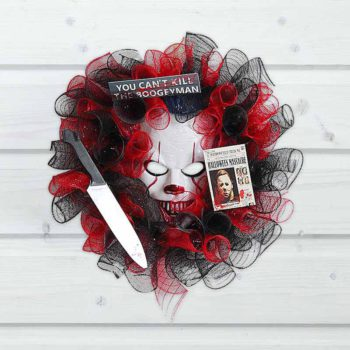 Pennywise Wreath Haunted House Clown Garland Hanging