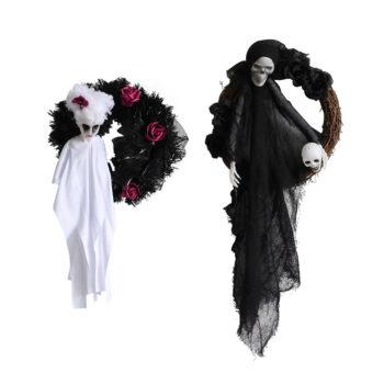 Halloween Garland Ghost Bride Gothic Hanging Wreaths