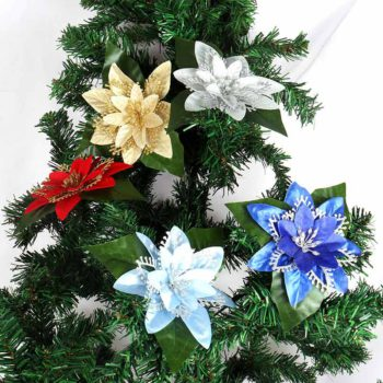 Christmas Flowers Fake Flowers Heads Xmas Tree Ornament