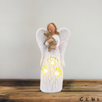 Angel With Dog Candle Holder Guardian Angel Figurines