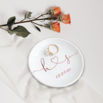Trinkets Dish Personalized Engagement Ring Holder Dish