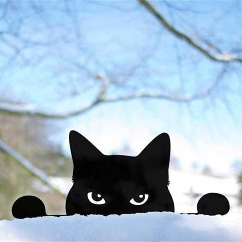 Metal Cat Peeking Cat Garden Decor Kitty Metal Yard Art