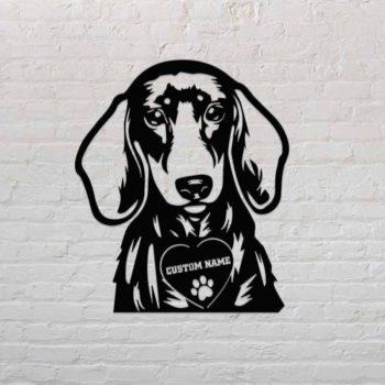 Dog House Sign Custom Dachshund Name Address Portrait