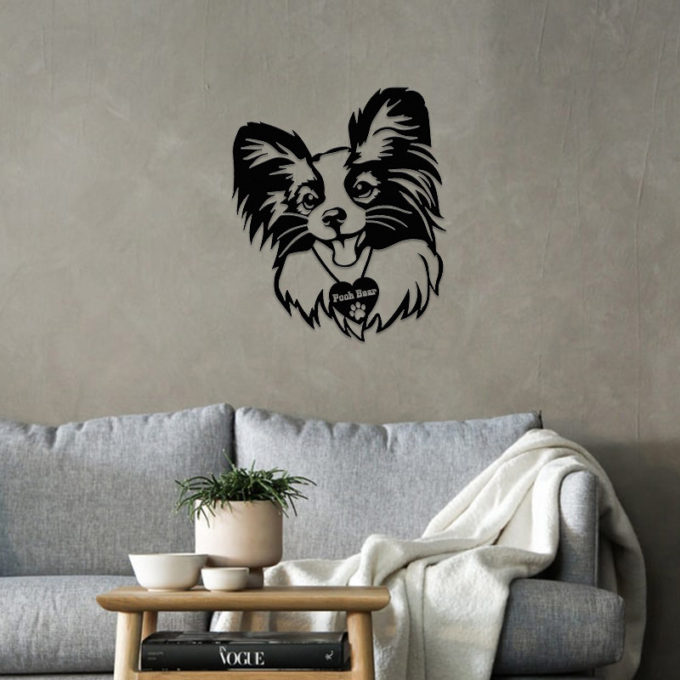 Cat Portrait Custom Papillon Cat With Name Metal Sign