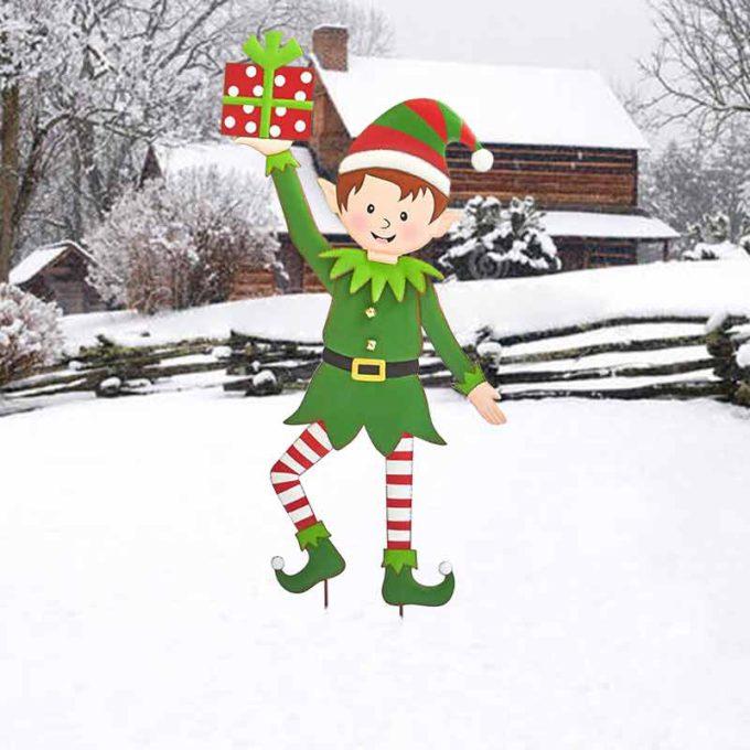Christmas Yard Stakes Christmas Elf Metal Garden Stakes