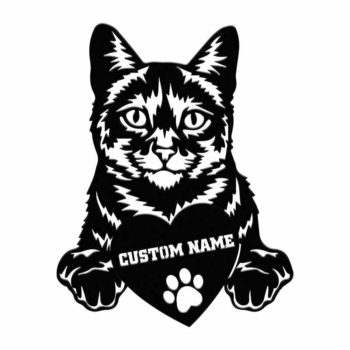 Custom Cat Portraits Tabby Cat With Name Portrait