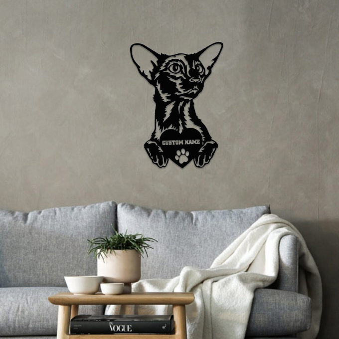 Custom Cat Name Sign Oriental Shorthair Cat Metal Portrait