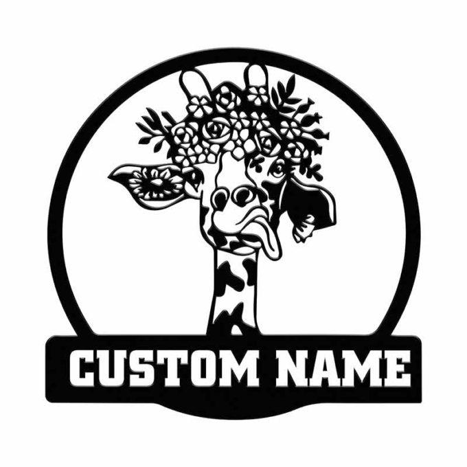 Giraffe Wall Art Personalized Name Animal Portrait