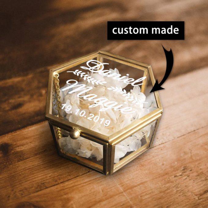 Ring Bearer Box Custom Hexagon Gold Glass Ring Box